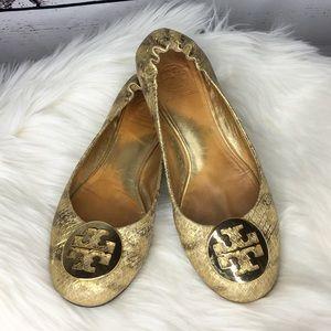 Tory Burch Reva Leather Gold Snakeskin Ballet Flat
